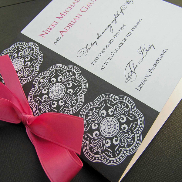 Ceremony, Inspiration, Flowers & Decor, Stationery, white, pink, black, Invitations, Ceremony Programs, Wedding, Program, Board, 2bsquared designs