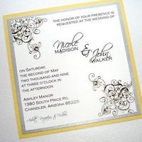Flowers & Decor, Stationery, white, yellow, black, silver, Invitations, Flowers, Floral, Scroll, Flourish, Embellished by tiffany