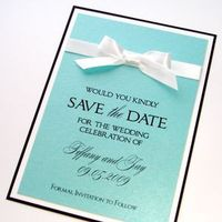 Stationery, white, blue, black, Invitations, Tiffany, The, Save, Date, Embellished by tiffany