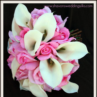 Flowers & Decor, white, pink, Bride Bouquets, Flowers, Roses, Bouquet, Wedding, Romantic, Calla, Lilies, Cream, Bouquets, Natural, Fresh, Touch, Shavons wedding silks