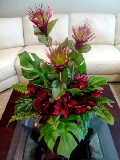 Ceremony, Inspiration, Reception, Flowers & Decor, pink, red, green, Ceremony Flowers, Centerpieces, Flowers, Centerpiece, Tropical, Board, Silk, Savannah, Protea, Amaryllis, Savannah event decor