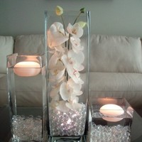 Ceremony, Inspiration, Reception, Flowers & Decor, white, yellow, orange, pink, red, purple, blue, green, brown, black, silver, gold, Ceremony Flowers, Centerpieces, Candles, Flowers, Centerpiece, Wedding, Orchids, Board, 3, Floating, Set, Piece, Rent, Savannah event decor