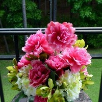 Ceremony, Inspiration, Reception, Flowers & Decor, white, pink, green, Ceremony Flowers, Centerpieces, Flowers, Orchids, Board, Hydrangea, Peonies, Cymbidium, Silks, Savannah event decor