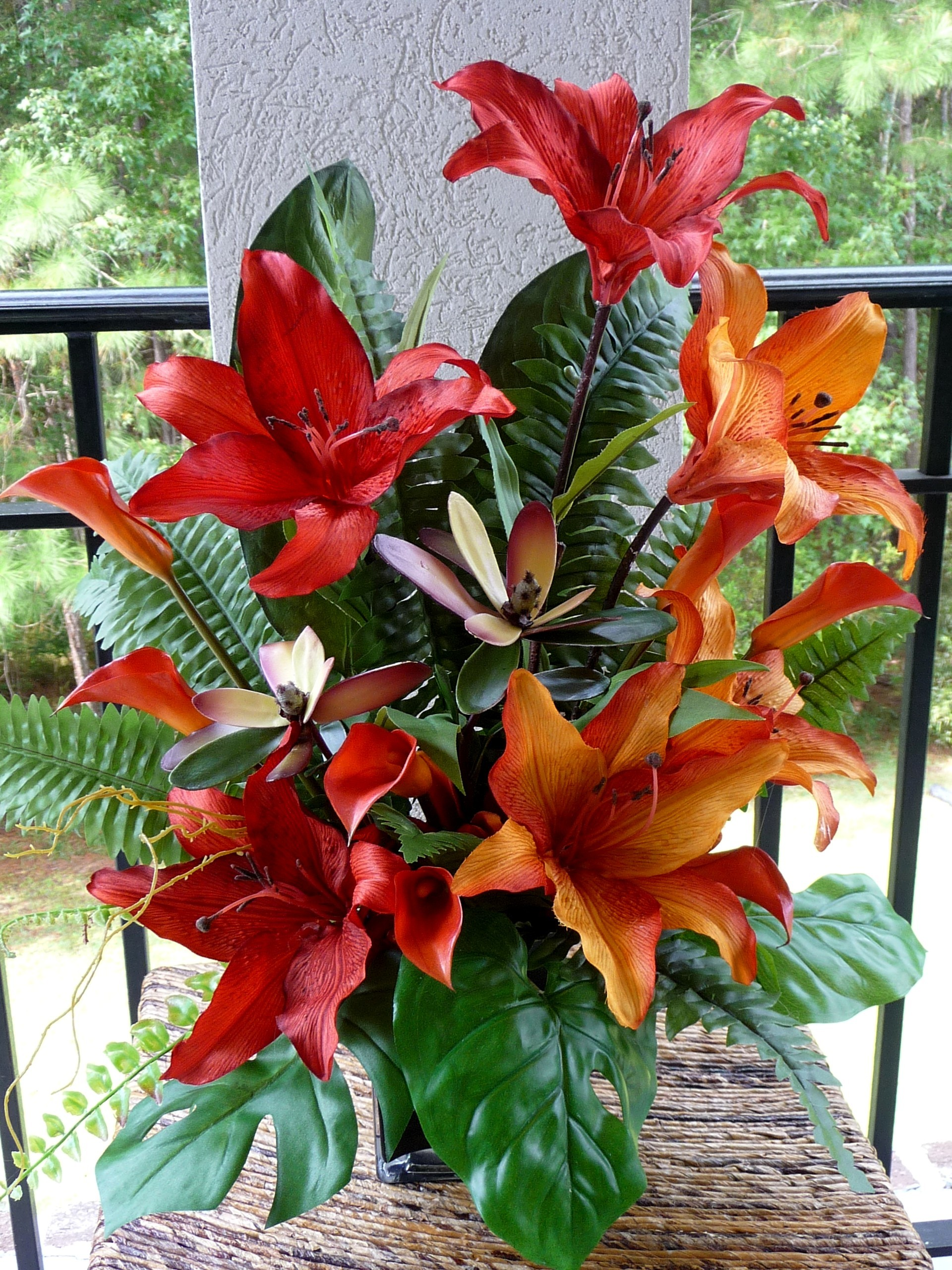 Ceremony, Inspiration, Reception, Flowers & Decor, orange, Ceremony Flowers, Centerpieces, Flowers, Centerpiece, Wedding, Lilies, Board, Burnt, Rent, Savannah event decor, Tropicals