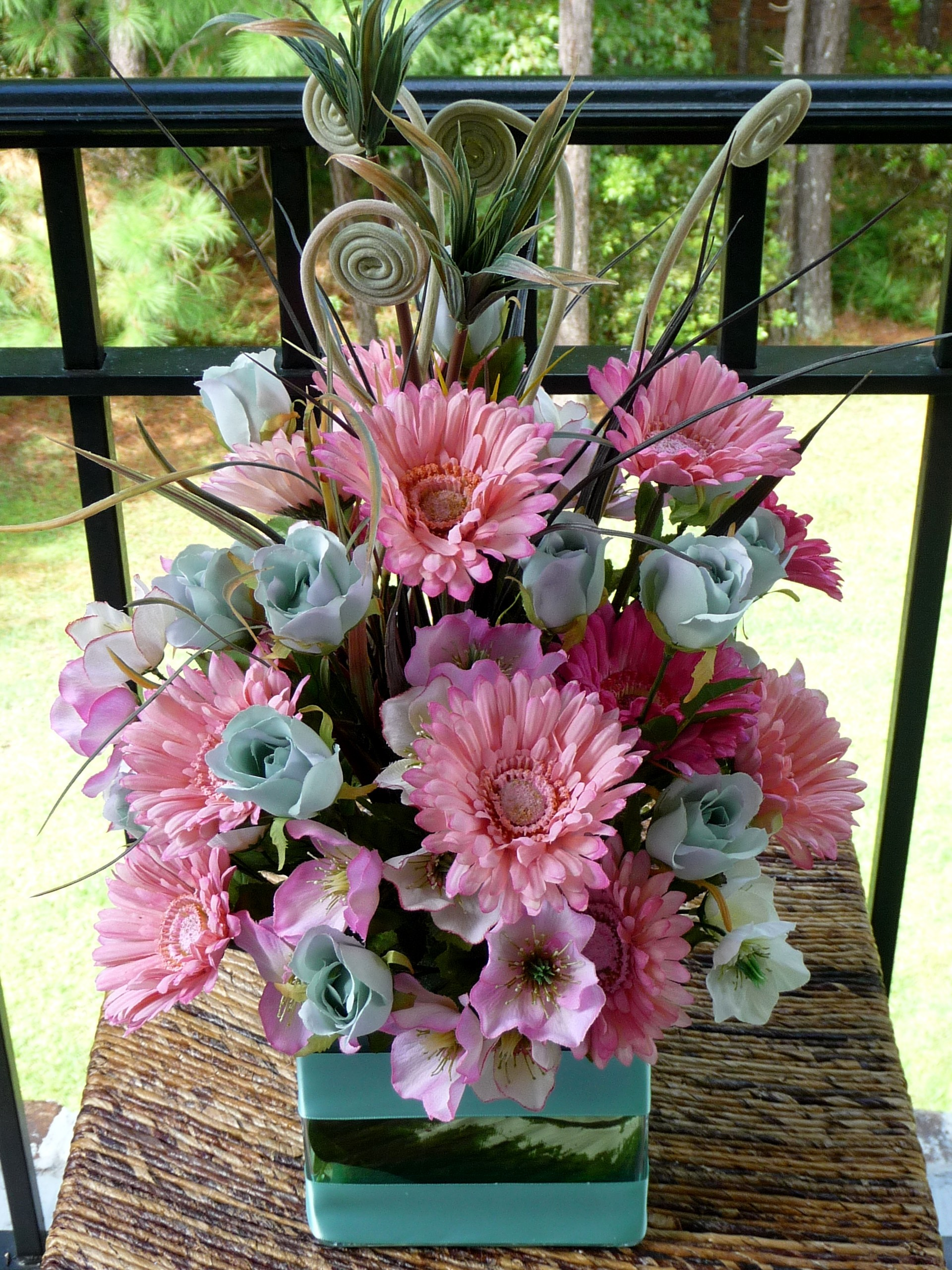 Ceremony, Inspiration, Reception, Flowers & Decor, white, yellow, orange, pink, red, purple, blue, green, brown, black, silver, gold, Ceremony Flowers, Centerpieces, Flowers, Wedding, Teal, Board, Daisies, Gerbera, Savannah event decor
