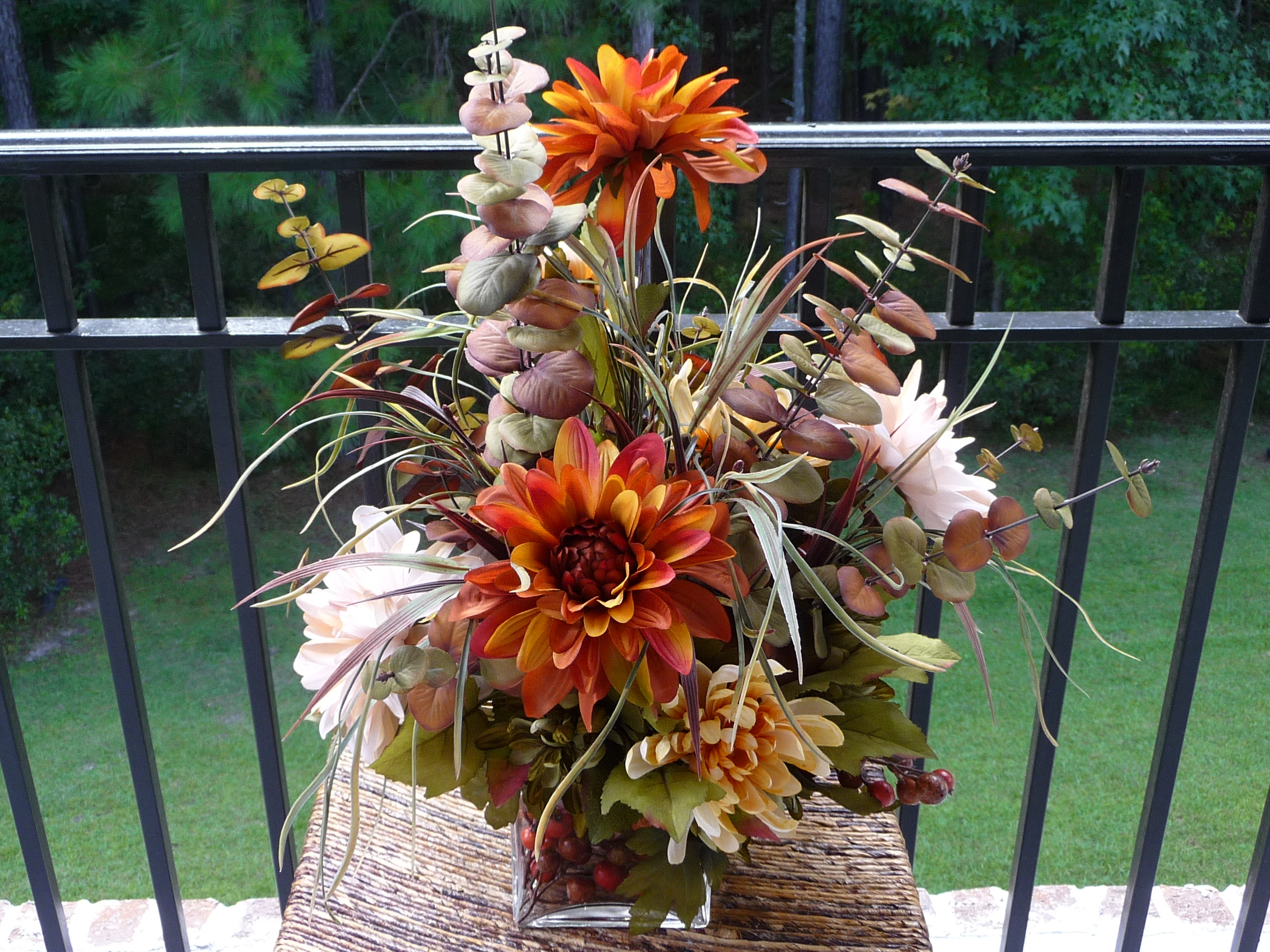 Ceremony, Inspiration, Reception, Flowers & Decor, white, ivory, orange, brown, gold, Ceremony Flowers, Centerpieces, Flowers, Centerpiece, Wedding, And, Board, Mums, Dahlias, Savannah event decor