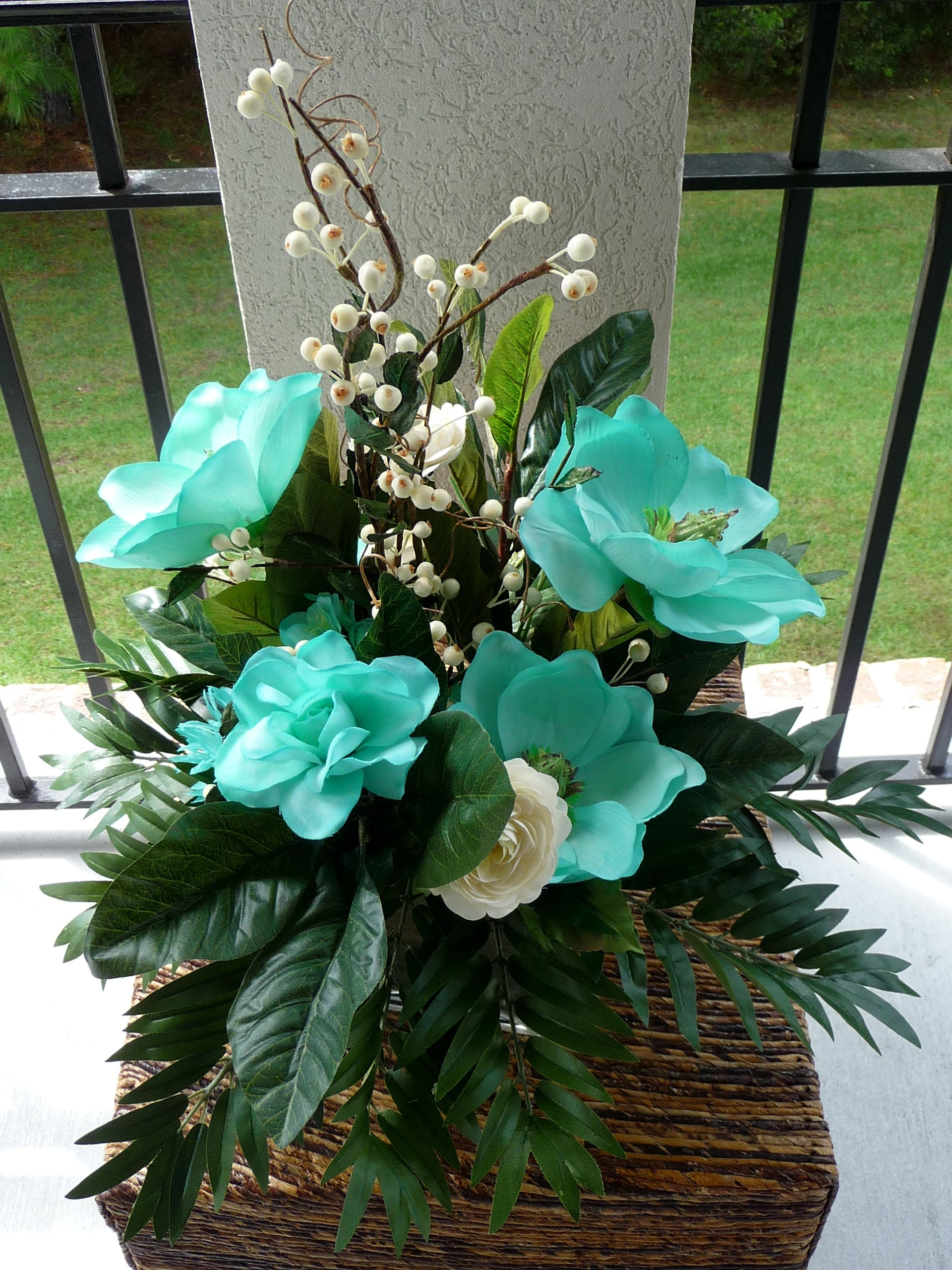 Ceremony, Inspiration, Reception, Flowers & Decor, white, ivory, blue, Ceremony Flowers, Centerpieces, Flowers, Roses, Centerpiece, Wedding, Teal, Board, Ranunculus, Handpainted, Savannah event decor, Magnolias