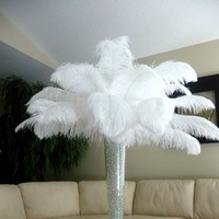 Beauty, Ceremony, Inspiration, Reception, Flowers & Decor, white, Feathers, Ceremony Flowers, Centerpieces, Flowers, Centerpiece, Board, Ostrich, Savannah event decor