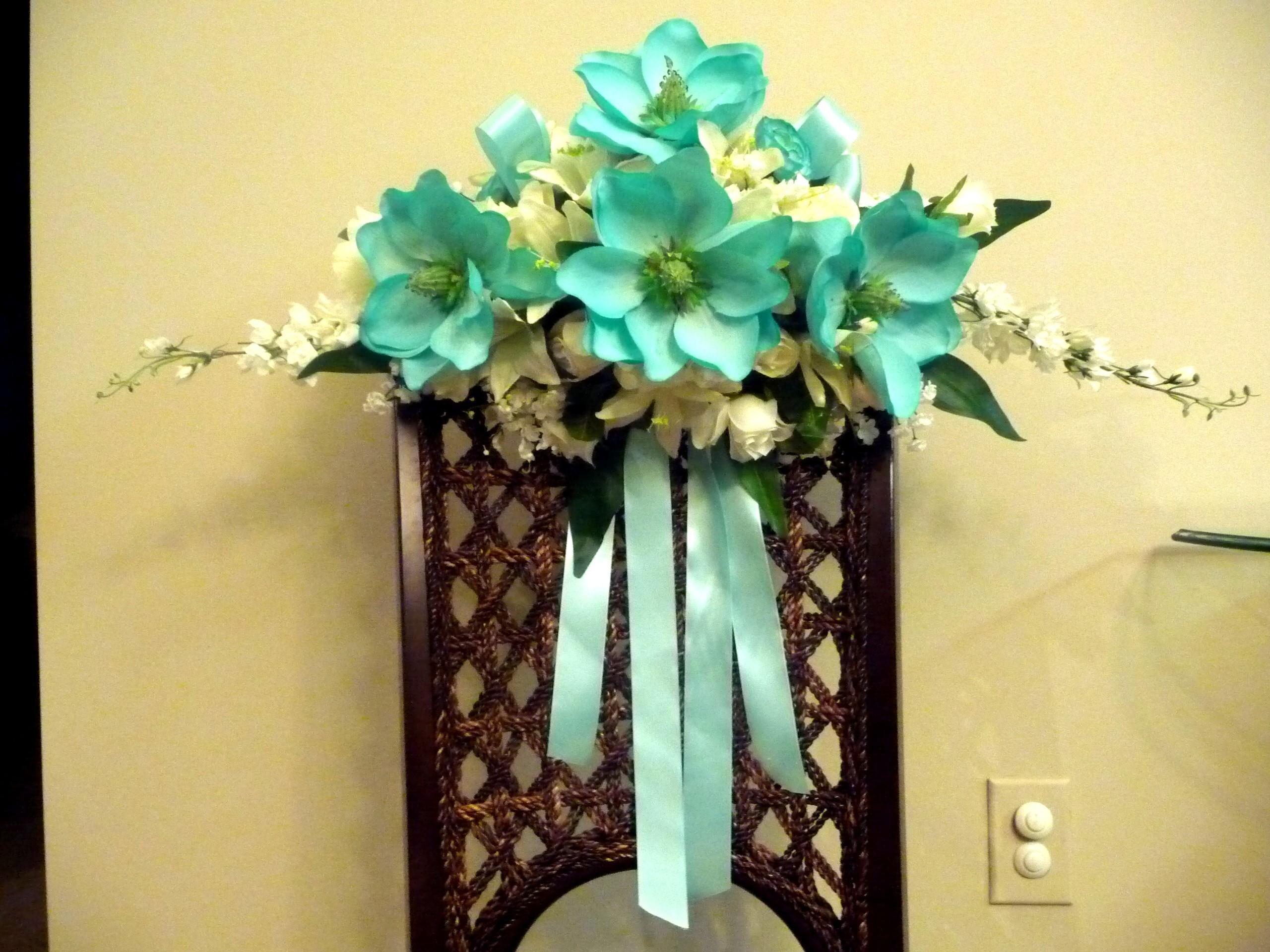 Ceremony, Inspiration, Reception, Flowers & Decor, white, blue, Ceremony Flowers, Flowers, Floral, Hand, Board, Decorative, Spray, Painted, Savannah event decor, Magnolias