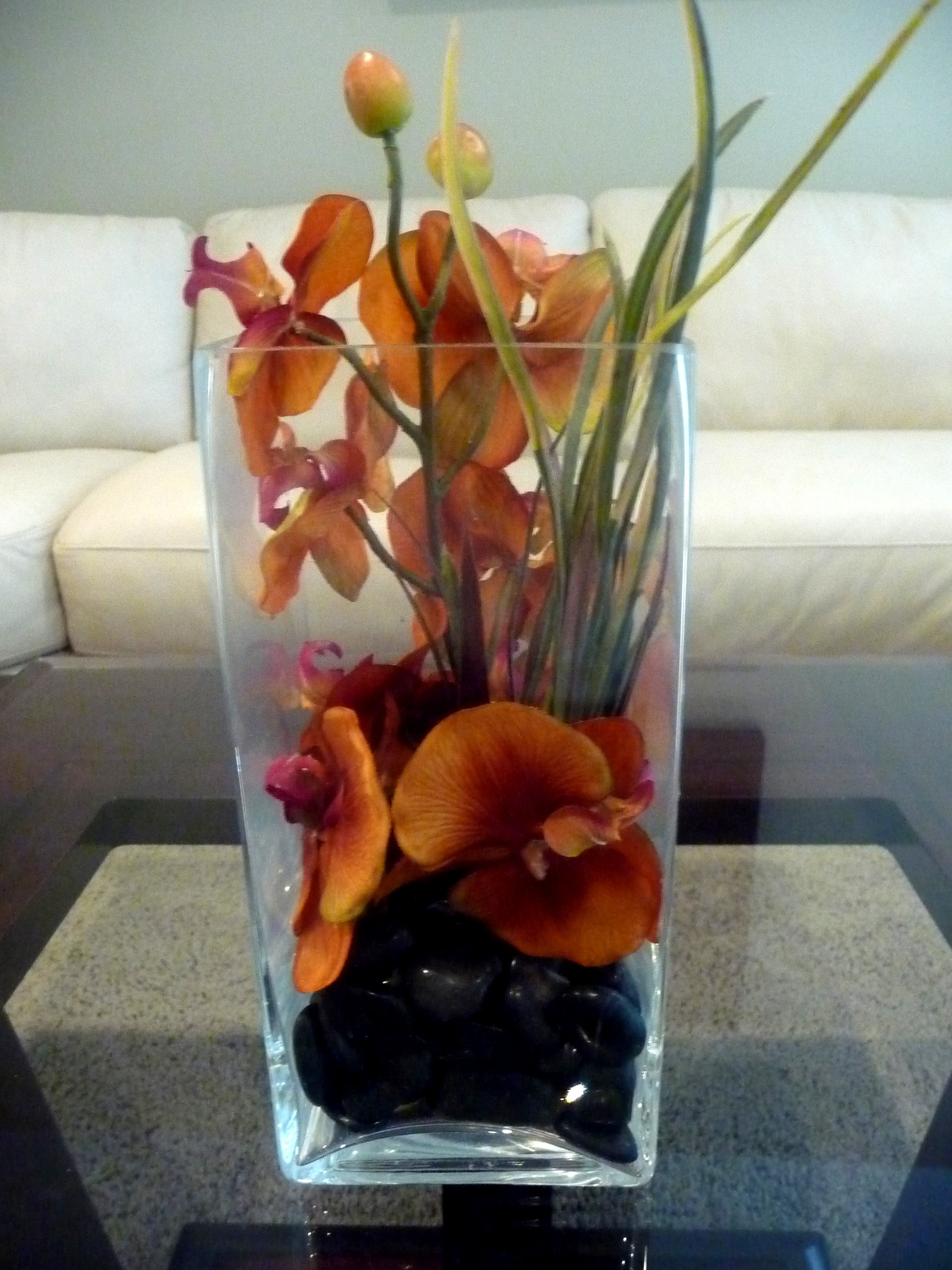 Ceremony, Inspiration, Reception, Flowers & Decor, orange, black, Ceremony Flowers, Centerpieces, Flowers, Centerpiece, Tropical, Vase, Orchids, Board, Glass, Burnt, Flavor, Savannah event decor