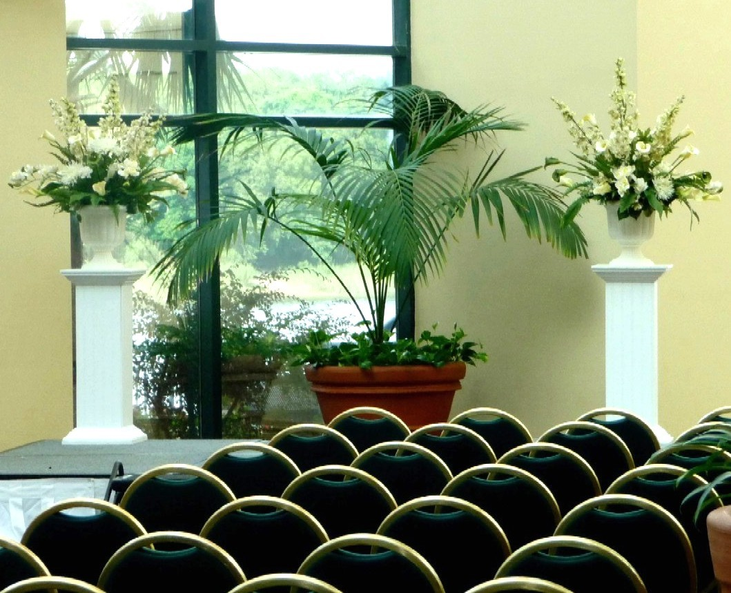 Ceremony, Inspiration, Reception, Flowers & Decor, white, Ceremony Flowers, Flowers, Floral, Board, In, Urns, Plant, Stands, Savannah event decor