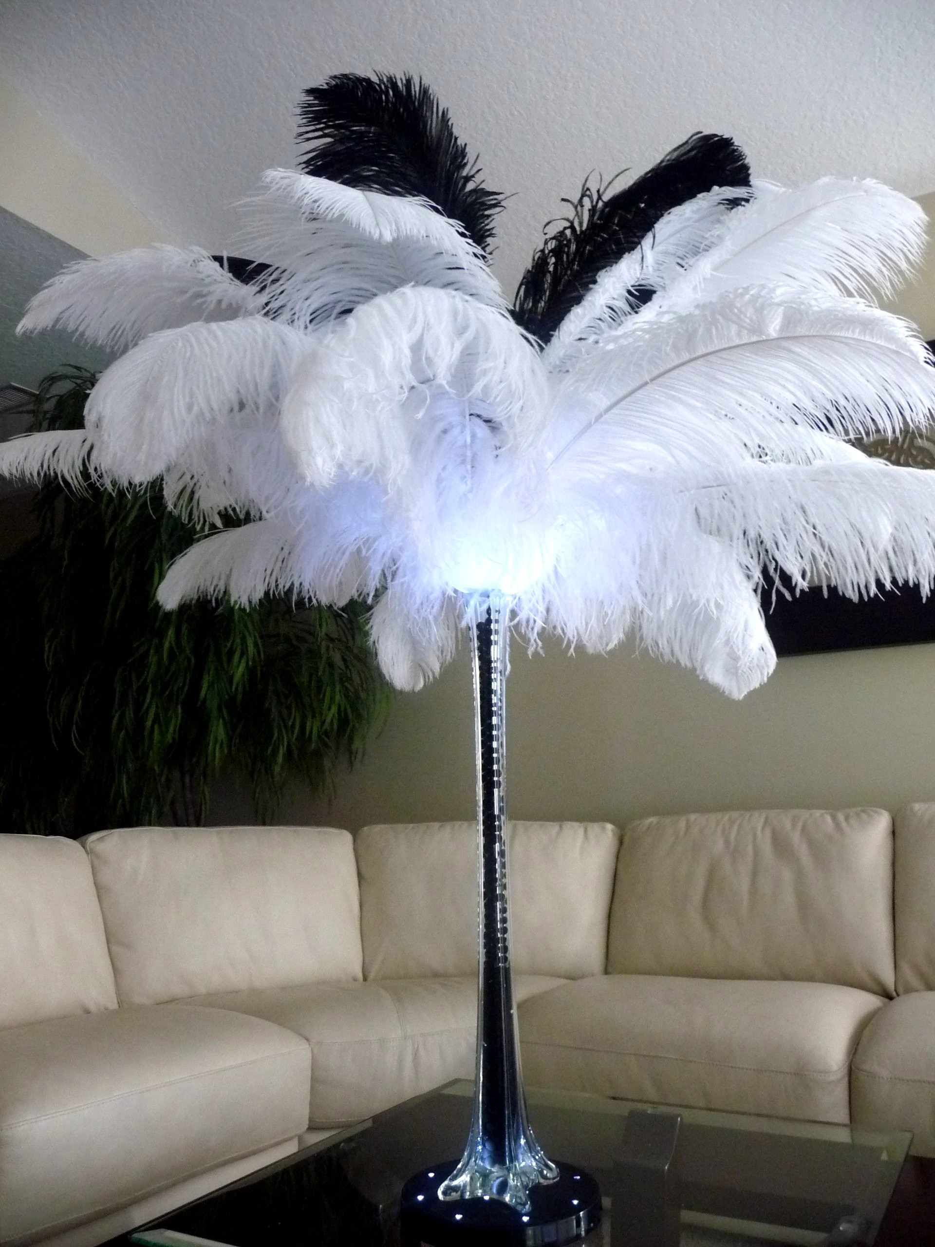 Beauty, Ceremony, Inspiration, Reception, Flowers & Decor, white, black, Feathers, Ceremony Flowers, Centerpieces, Flowers, Board, Ostrich, Savannah event decor
