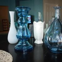 Reception, Flowers & Decor, white, blue, green, Centerpieces, Centerpiece, Vase
