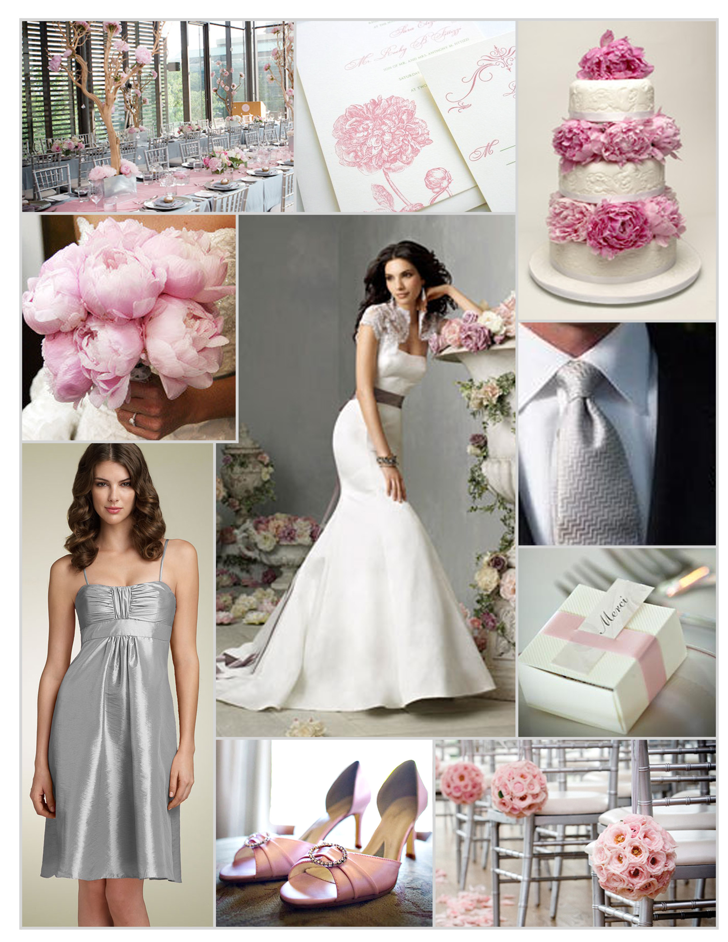 Ceremony, Inspiration, Reception, Flowers & Decor, Bridesmaids, Bridesmaids Dresses, Wedding Dresses, Shoes, Cakes, Fashion, pink, silver, cake, dress, Ceremony Flowers, Bridesmaid Bouquets, Flowers, Jim hjelm, Board, Nordstrom, Flower Wedding Dresses