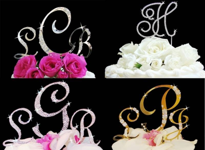Reception, Flowers & Decor, Jewelry, Cakes, silver, gold, cake, Monogrammed Wedding Cakes, Monogram, Wedding, Toppers, Myweddingaccentscom