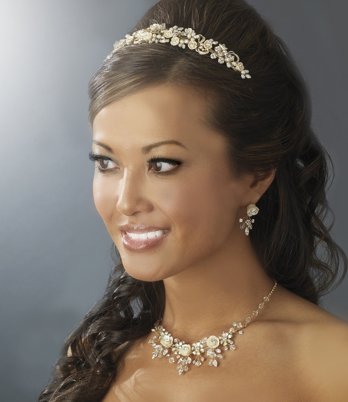 Jewelry, ivory, pink, Necklaces, Tiaras, Bridal, Tiara, Champagne, Necklace, Couture, Set, Myweddingaccentscom, Rlum
