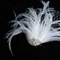 Beauty, white, Feathers, Hair, Rhinestone, Etsy, Feather, Ostrich, Powderbluebijoux