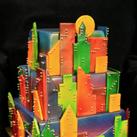 yellow, orange, pink, red, purple, blue, green, silver, Square, City, Tiered, Cityscape, Bennys bakery, Buildings, Multicolored