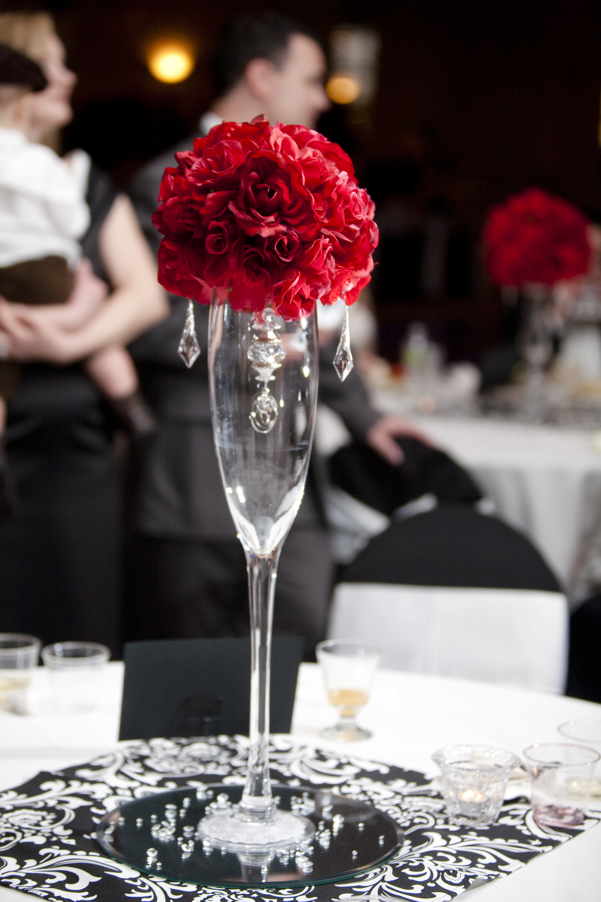 One of the centerpieces at reception project wedding
