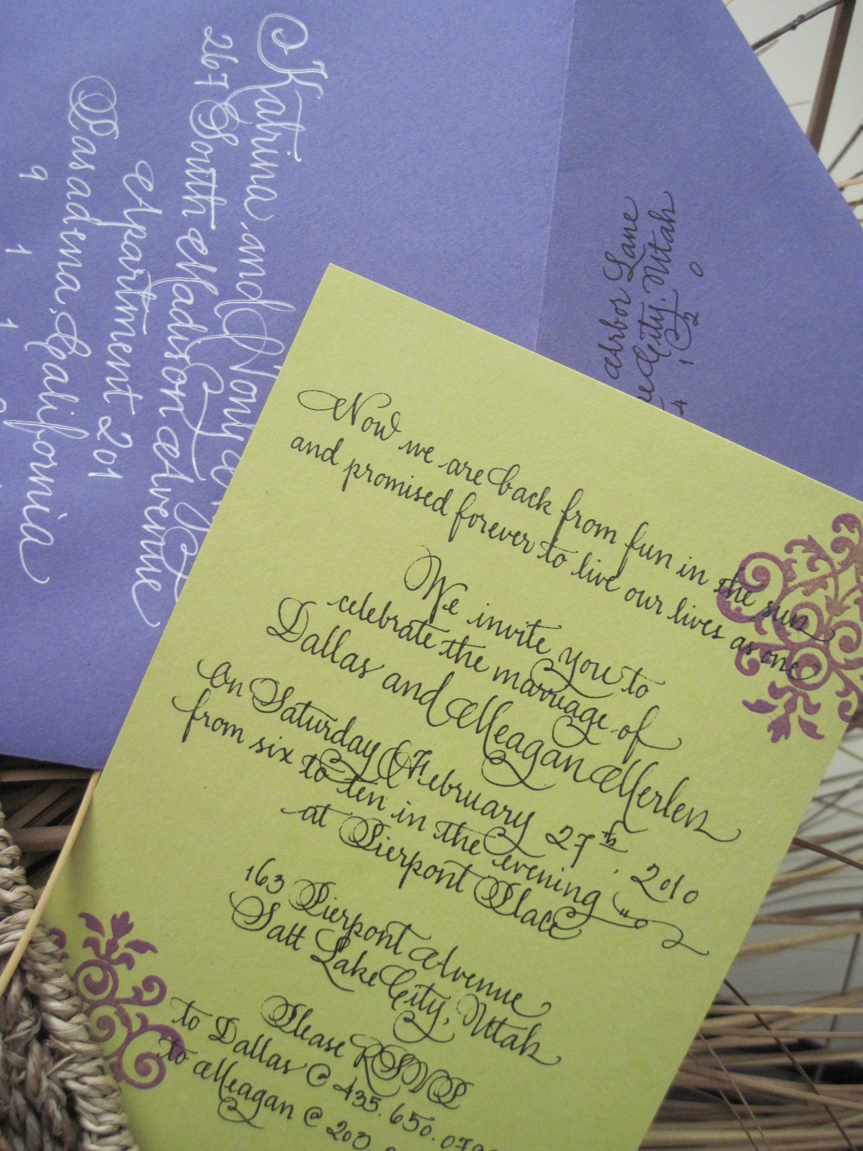 Calligraphy, Stationery, white, purple, green, black, Invitations, And, Calligraphy katrina and maison du papier