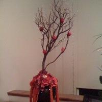 Ceremony, Reception, Flowers & Decor, red, black, Ceremony Flowers, Centerpieces, Flowers, Centerpiece