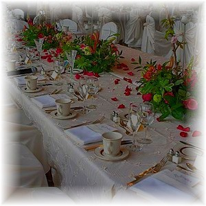 Reception, Flowers & Decor, white, red, silver, Table, Setting, Maximum capacity events