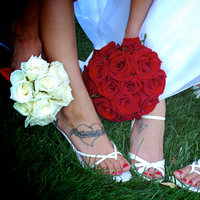 Flowers & Decor, Bridesmaids, Bridesmaids Dresses, Shoes, Fashion, white, red, black, Bride Bouquets, Bridesmaid Bouquets, Flowers, Bouquet, Snapshots by jolene, Flower Wedding Dresses