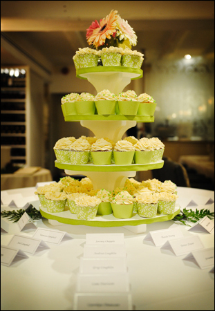 Cakes, yellow, green, cake, Cupcakes, Place Cards, Cream, Toronto, Tami mcinnis photography, Auberge du pommier