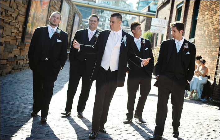 Fashion, Men's Formal Wear, Groomsmen, Groom, Tuxedo, Suit, Alley, Tami mcinnis photography, The distillery