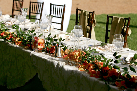 Reception, Flowers & Decor, Decor, orange, green, Table, And, Events, Weddings, Head, Las, Art, Soul, Art soul weddings and events, Big fun roses, Campanas, Ruscus
