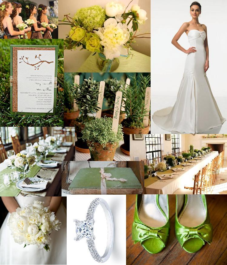 Inspiration, Reception, Flowers & Decor, Jewelry, Bridesmaids, Bridesmaids Dresses, Wedding Dresses, Shoes, Stationery, Fashion, green, brown, dress, Bridesmaid Bouquets, Invitations, Flowers, Board, Flower Wedding Dresses
