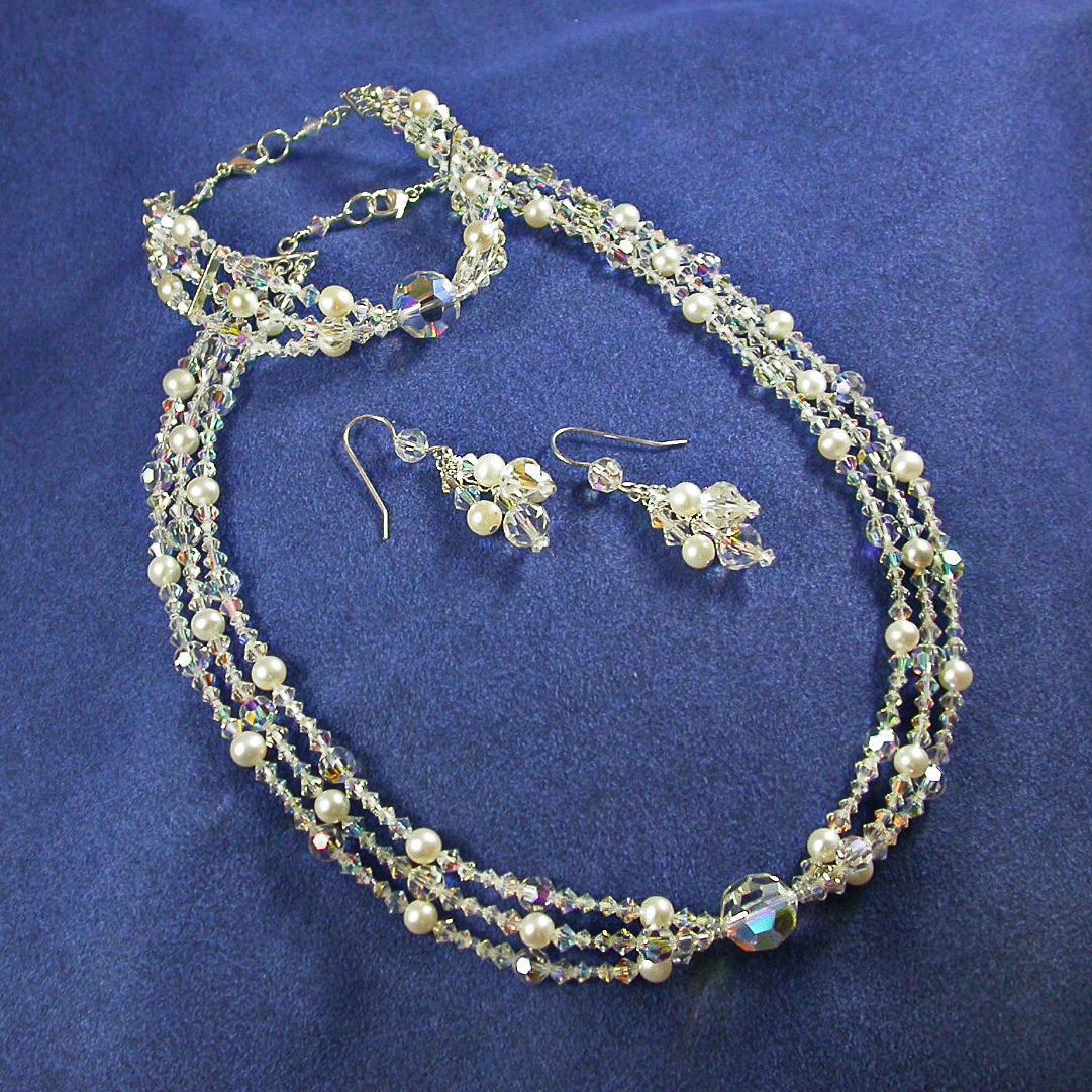 Jewelry, white, silver, Bracelets, Necklaces, Crystal, Necklace, Bracelet, Swarovski, 3, Earring, Studio, Pearl, Freshwater, Strand, Damselfly, Damselfly studio