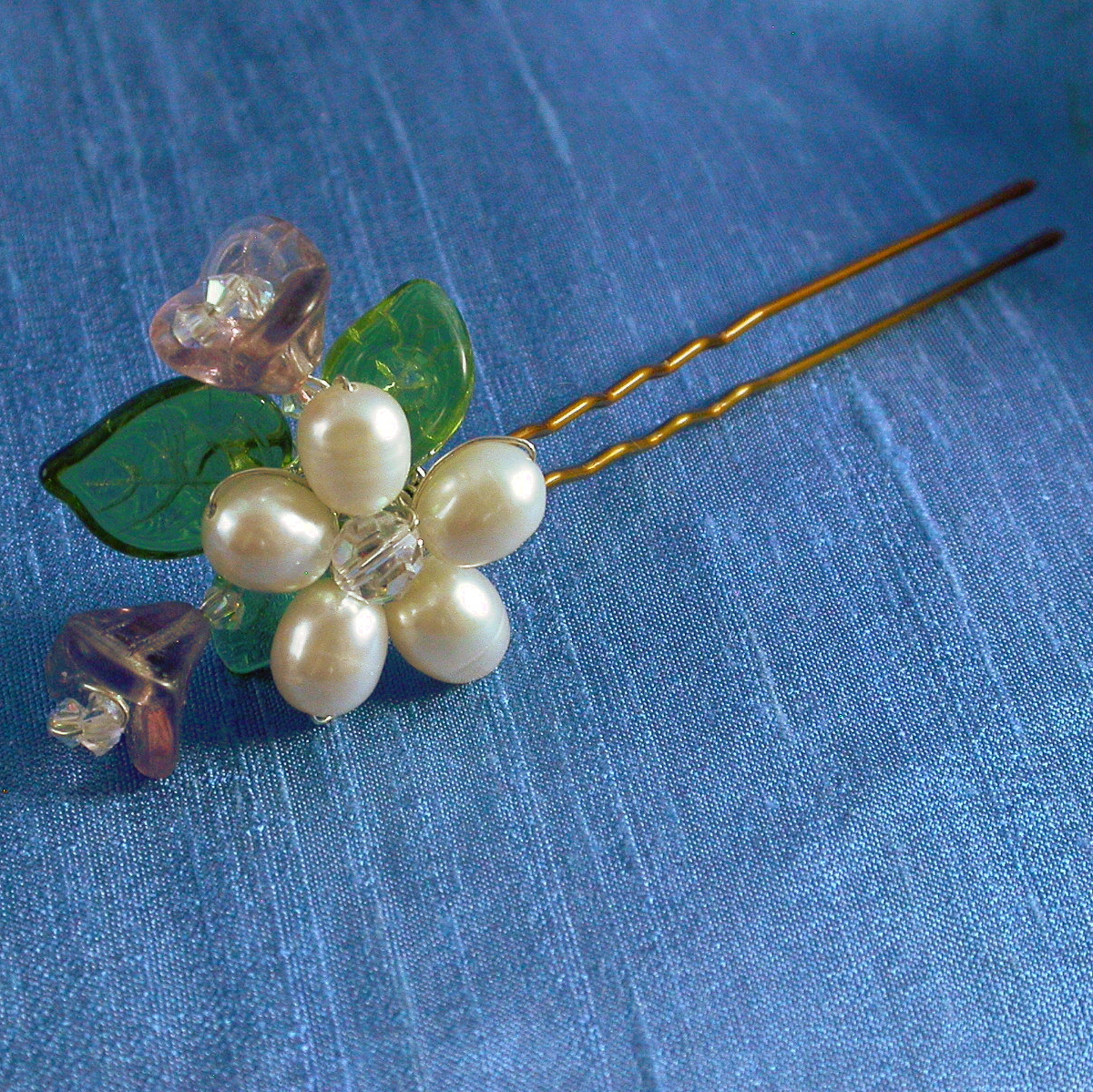 Beauty, Flowers & Decor, Jewelry, white, pink, purple, blue, green, silver, Hairpin, Flowers, Flower, Hair, Color, Head, Studio, Pearl, Piece, Freshwater, Damselfly, Damselfly studio