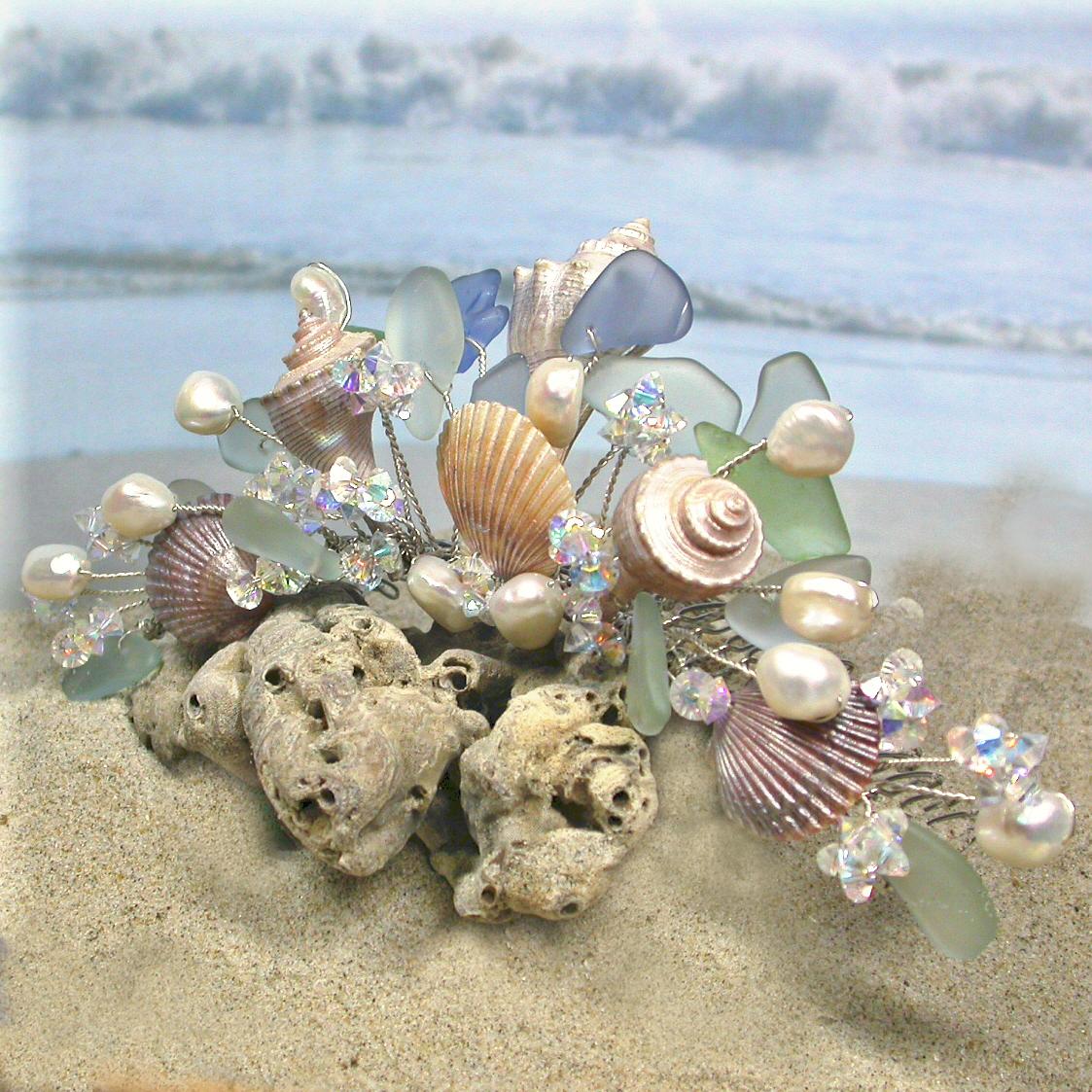 Beauty, Jewelry, white, blue, green, silver, Beach, Wedding, Hair, Bridal, Ocean, Headpiece, Seaglass