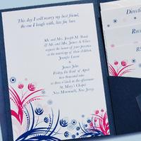 Stationery, white, pink, blue, Invitations