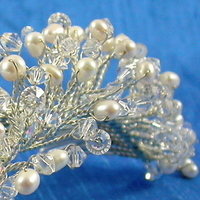 Beauty, Jewelry, white, silver, Tiaras, Comb, Hair, Tiara, Crystal, Swarovski, Headpiece, Pearl, Freshwater, Damselfly studio, Frenchtwist