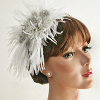 Beauty, Jewelry, white, silver, Roses, Hair, Hat, Leaves, Glamour, Facinator, Damselfly studio, Knitted