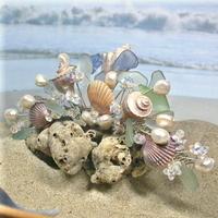 Beauty, Jewelry, white, blue, green, silver, Beach, Shell, Hair, Ocean, Damselfly studio, Beachglass