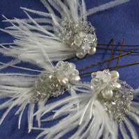 Beauty, Flowers & Decor, Jewelry, white, silver, Hairpin, Feathers, Flower, Hair, Crystal, Swarovski, Headpiece, Pearl, Freshwater, Sterling, Feather, Ostrich, Gemstone, Moonstone, Damselfly studio