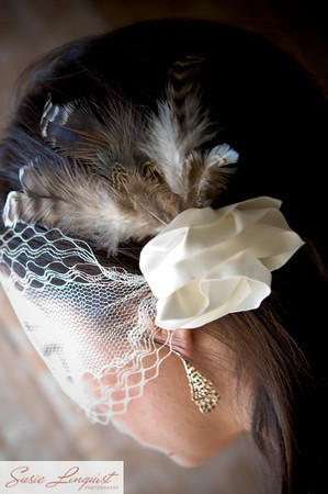 Beauty, Ceremony, Flowers & Decor, Veils, Vintage Wedding Dresses, Fashion, white, brown, Feathers, Ceremony Flowers, Vintage, Flowers, Vintage Wedding Flowers & Decor, Veil, Hair, Feather, Modern la weddings, Flower Wedding Dresses, Feather Wedding Dresses