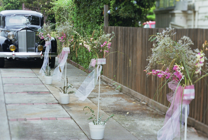 Ceremony, Flowers & Decor, white, pink, green, Ceremony Flowers, Vintage, Flowers, Vintage Wedding Flowers & Decor, Car, Runners, Modern la weddings
