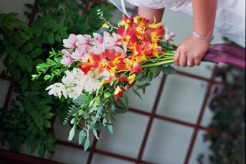 Ceremony, Flowers & Decor, white, yellow, pink, green, Ceremony Flowers, Flowers, Orchids, Cymbidium, Modern la weddings