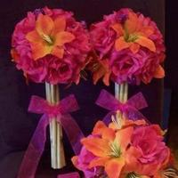 Ceremony, Flowers & Decor, Bridesmaids, Bridesmaids Dresses, Beach Wedding Dresses, Fashion, orange, pink, Beach, Ceremony Flowers, Bride Bouquets, Bridesmaid Bouquets, Flowers, Beach Wedding Flowers & Decor, Bouquet, Wedding, Bridesmaid, Bamboo, Bouquets, Fuschia, Silk, Flower Wedding Dresses, Silk Wedding Dresses