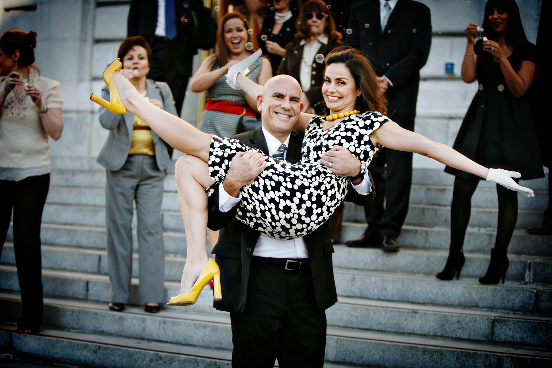 Ceremony, Flowers & Decor, Shoes, Fashion, white, yellow, black, Bride, City, Groom, Wedding, Family, San, Francisco, Hall, Civil