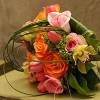Flowers & Decor, Bridesmaids, Bridesmaids Dresses, Fashion, orange, pink, green, Bridesmaid Bouquets, Flowers, Dazzling bouquets, Flower Wedding Dresses