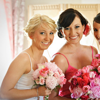 Beauty, Flowers & Decor, Bridesmaids, Bridesmaids Dresses, Fashion, pink, Makeup, Bridesmaid Bouquets, Flowers, Hair, Amie decker makeup hair artistry, Flower Wedding Dresses