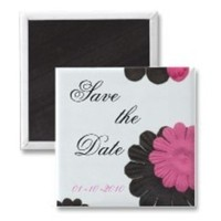 Inspiration, Flowers & Decor, white, pink, black, Flowers, Board, The, Save, Date, Magnets, Design by ruby