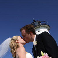 Wedding Dresses, Fashion, white, blue, dress, Men's Formal Wear, Bride, Groom, Wedding, Kiss, Tuxedo, Lighthouse, Jane berger photography