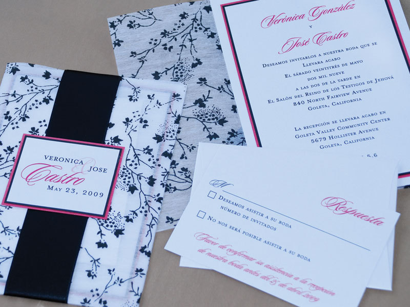 Stationery, white, pink, black, invitation, Invitations, Ribbon, Spanish, Proskalo inc
