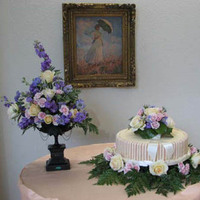 Reception, Flowers & Decor, Cakes, white, pink, blue, cake, Centerpieces, Flowers, Centerpiece, Table, Macklin floral designs